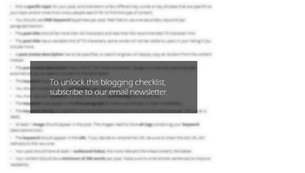 Blogging SEO Checklist for Blog Etiquette BLUR subscribe prompt